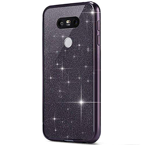Surakey Cover LG G5, Custodia Silicone Morbido con Brillantini Glitter Bordo Placcato di Lusso Bling Crystal Clear TPU Protettiva Skin Sottile e Leggero Cover per LG G5, Nero