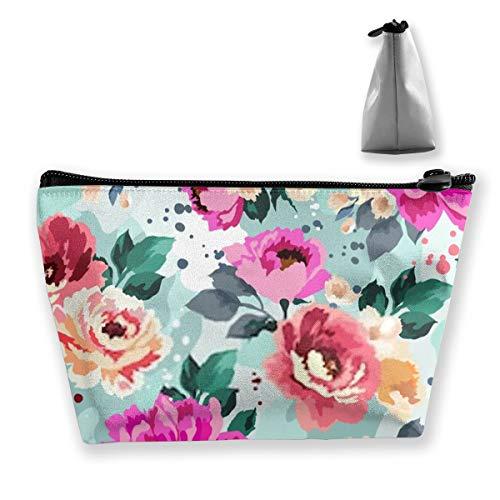 Beau motif floral avec aquarelle - Trousse de maquillage de voyage avec fermeture éclair pour femmes et filles