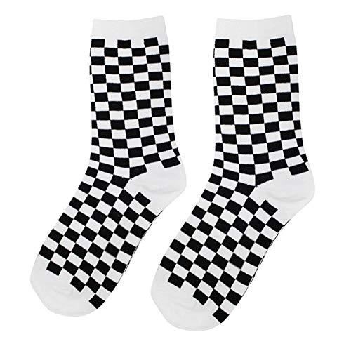 bozitian Plaid Socken Ankle Tartan Socken Personalisierte Hip Hop Socken Schwarz Und Weiß Baumwolle Sportstrümpfe Für Männer Und Frau