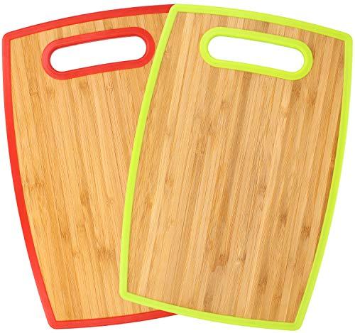 com-four 2x tabla de cortar de doble cara hecha de plástico y madera de bambú - tabla de desayuno robusta para la cocina - 30 x 20 cm (2 piezas - bambú)