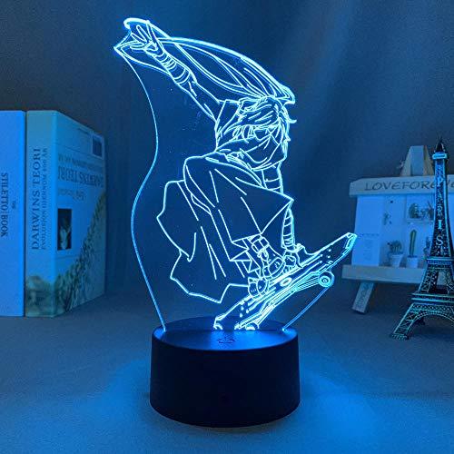 Lampara anime figuras anime 3d,Lámpara de mesa Holograma 16 colores cambian control remoto,Regalos creativos para niños niñas,para niños de decoración de dormitorio de cereza infinita SK8