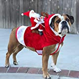 N/H Dog Christmas Costume Santa Claus Riding Dog Costume Santa Claus Pet Dogs Outfits Apparel Party Dressing Up Clothing for Dogs Cats (XL)