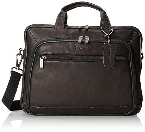 Kenneth Cole Reaction Colombian Leather Dual Compartment Top Zip 16' Laptop Portfolio, Black