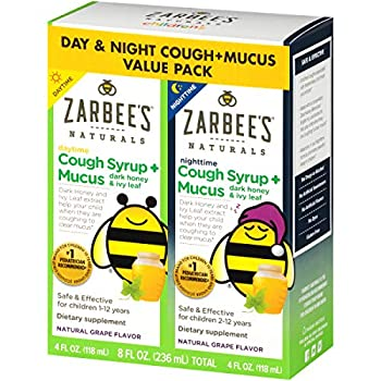 Zarbee s Naturals Children s Cough Syrup* + Mucus Daytime & Nighttime Grape Flavor 4 Ounces  Pack of 2