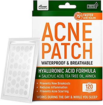 Acne Patches with Tea Tree Oil & Salicylic Acid - Fast & Efficient - Hydrocolloid Acne Patches for Cystic Acne Blemishes Breakout - Super Pimple Patches by Aeno Acne Treatment - 120 Zit Stickers