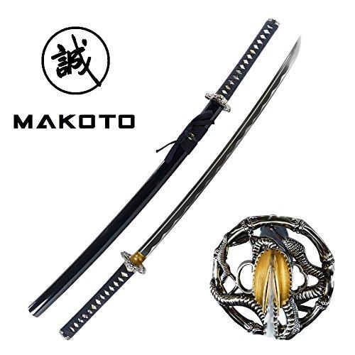 "MAKOTO Handmade Sharp Katana Samurai Sword 40"" - Serpent Cobra Snake Tsuba (Black)"