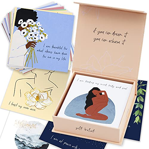 RYVE 52 Positive Affirmations Cards - Daily Affirmation Cards for Women - Meditation Cards, Mindfulness Cards, Affirmators Cards, Words of Affirmation Cards, Self Love Gifts, Self Care Gifts