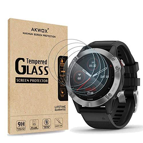 AKWOX 4 Stück Schutzfolie aus Panzerglas für Garmin Fenix 6, Garmin Fenix 6 Pro & Garmin Vivomove HR Display Schutz, 9H Festigkeit Kratzfest Schutzglas für SmartWatch Bildschirmschutz