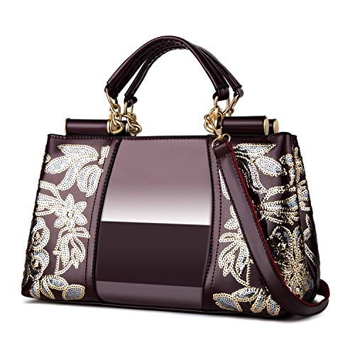 Nevenka Women Patent Leather Fashion Handbags (Wine Red)