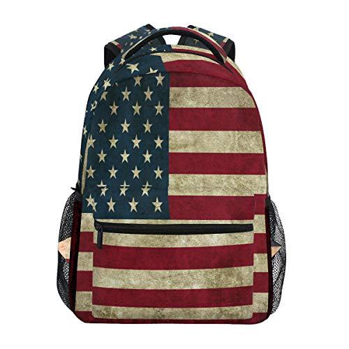 Linomo Jahrgang USA Amerikanisch Flagge Rucksack Daypacks Schultertasche Büchertasche Laptop Reisen Schulrucksack für Damen Herren Kinder Mädchen Jungen Teenager