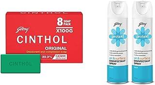 Cinthol Original Bath Soap - PO8 (100g), 99.9% Germ Protection & Godrej Protekt Disinfectant Spray, Aqua - PO2 (240ml each)