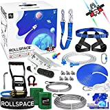 RollSpace 150FT Zipline Kits for Backyards with Ratchet Straps Tensioning Kit Quick-Set Up Zipline for Kids Spaceship Trolley Zipline with Spring Brake Zipline kits for Backyard 150 ft Kids and Adults