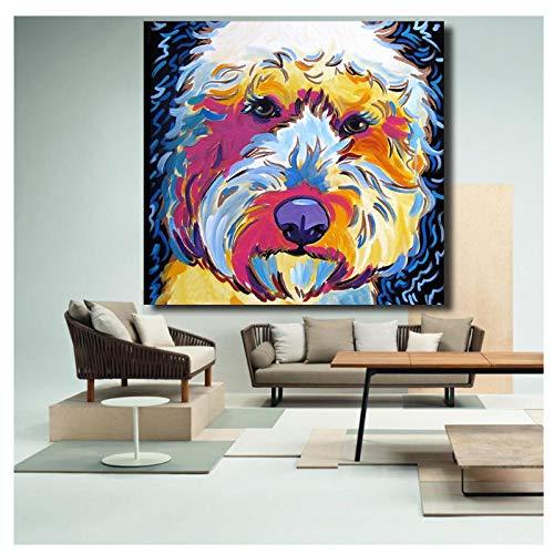 MULMF Dierenaffiche, knijpers, hondenkunst, portret, canvas, schilderij op canvas, kunstdruk, voor woonkamer, decoratie, 50 x 50 cm, geen lijst