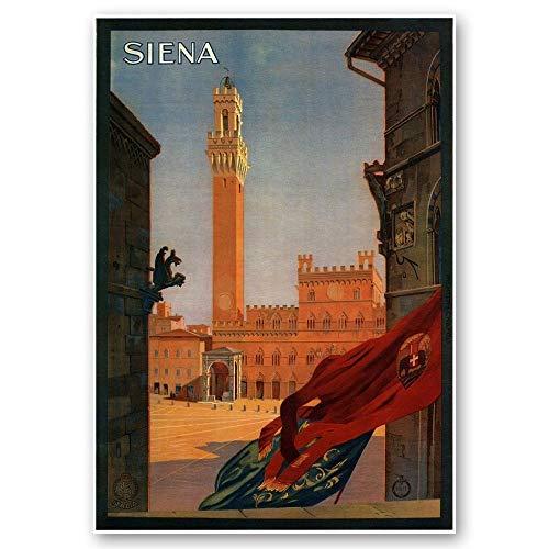 LegendArte Póster Vintage Turistico Siena cm 50x70 - Cuadro sobre lienzo, decoración de pared