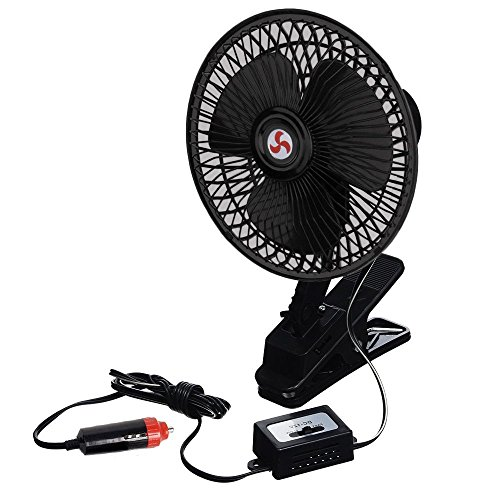 Zento Deals 12V Portable Oscillating Fan-Universal Sturdy Mounted on Vehicle with Clip