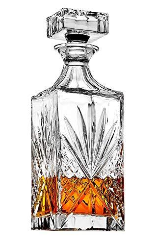 James Scott Crystal Decanter for Whiskey, Liquor and Bourbon - 25 Oz. Lead Free | Irish Cut design | Gift Box