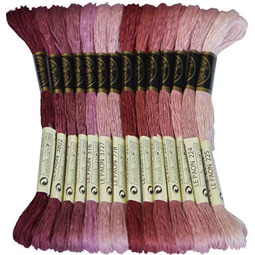 Premium Rainbow Color Embroidery Floss - Cross Stitch Threads - Friendship Bracelets Floss - Crafts Floss - 14 Skeins Per Pack Embroidery Floss, Garnet Gradient