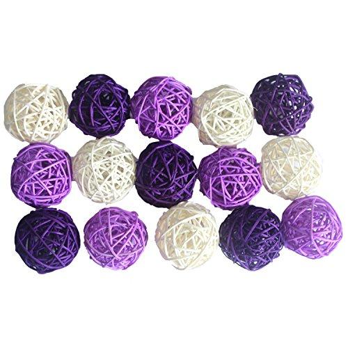 ALLHEARTDESIRES Purple Birthday Wedding Table Centerpieces 15PCS Mixed Deep Purple Lavender White Natural Rattan Ball Vase Bowl Filler Holiday Bachelorette Party Supplies