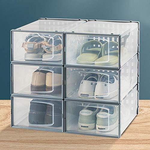 weichuang Caja de zapatos transparente de almacenamiento de zapatos de plástico apilable organizador de zapatos grueso transparente cajón organizador de zapatos apilable contenedor caja de zapatos