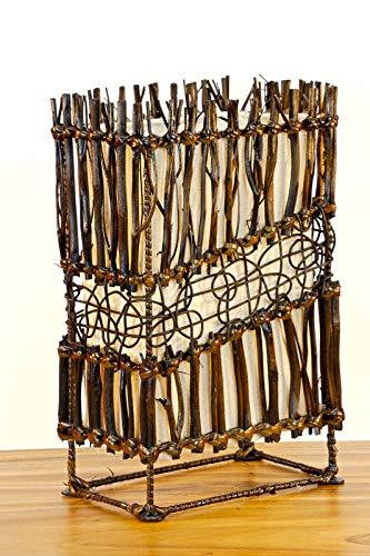 Kinaree houten tafellamp DAMPIT - 34 cm tafellamp met crèmekleurig zeildoek en applicaties van donkere takken