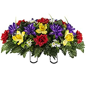 Sympathy Silks Artificial Cemetery Flowers – Realistic Vibrant Roses, Outdoor Grave Decorations – Non-Bleed Colors, and Easy Fit – 1 Red Yellow Purple Orchid Saddle for Headstone