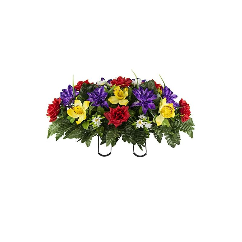 silk flower arrangements sympathy silks artificial cemetery flowers - realistic vibrant roses, outdoor grave decorations - non-bleed colors, and easy fit - 1 red yellow purple orchid saddle for headstone