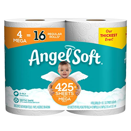 Angel Soft Toilet Paper Bath Tissue, 4 Mega Rolls, 425+ 2-Ply Sheets Per Roll