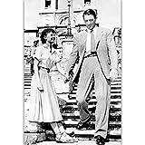 LGYJAL Póster en Blanco y Negro Audrey Hepburn Cuadro en Lienzo en la Pared Impresiones clásicas de Estrellas Pinturas de Figuras de Mujer para Interiores 40x50 cm C-1773