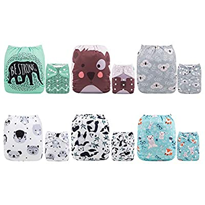 ALVABABY Baby Cloth Diapers One Size Adjustable Washable Reusable for Baby Girls and Boys 6 Pack with 12 Inserts 6DM16