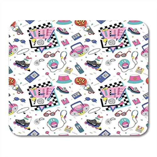 Gaming-Mauspad, Retro-Patch-Abzeichen mit Rollschuh-Kassettenspielern, Sonnenbrillen, buntes Dekor, Büro, rutschfeste Gummi-Rückseite, Mauspad
