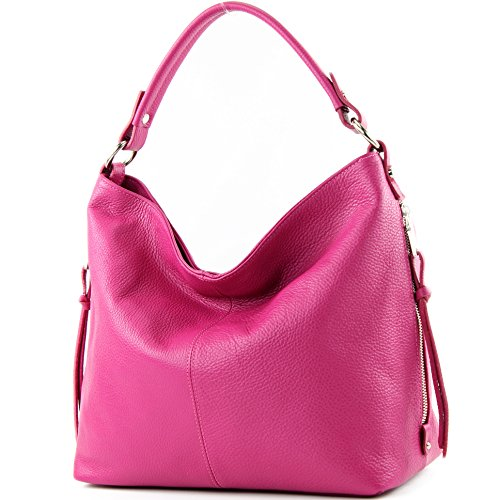 modamoda de Damen Schultertasche, Leder T160, Farbe:Pink