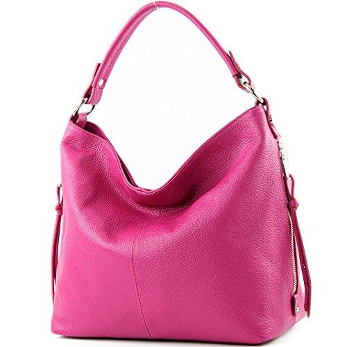 modamoda de Damen Schultertasche, Leder T160, Farbe:T160 Pink