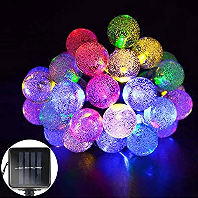 Ollny Solar Bubble Light String Waterproof 5M 30 LED Crystal Ball Lights Garden Fairy Lights for Party Gardens Homes Patio Lawn Wedding Holiday Christmas Tree Decorations (Warm White)