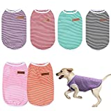 Uoeo 6 piezas camiseta de rayas para perro de verano transpirable camiseta de perro mascota cachorro sudadera colorida camisa de perro para la mayoría de mascotas perros gatos cachorros, M