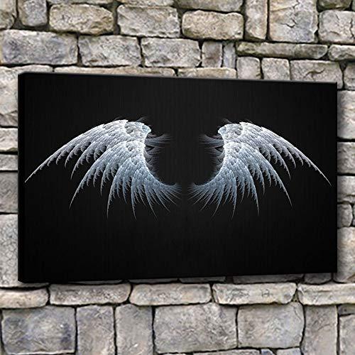 UIOLK Pintura de Arte Multicolor Impresiones Creativas Pintura al óleo Arte de Pared de Moda Abstracto alas de ángel Blancas decoración de Carteles Pintura de Pared Dormitorio Oficina en casa