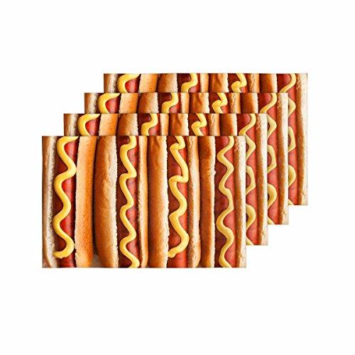 InterestPrint Barbecue Gegrilde Hete Honden Geel Amerikaanse Mosterd Voedsel Placemat Tafelmatten Set van 4, Plaats Mat voor Keuken Eettafel Restaurant Home Decor 12
