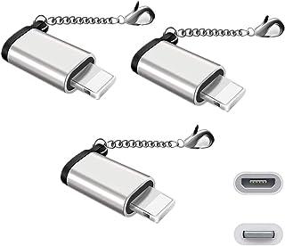 【改善版]Micro USB & Lightning変換アダプタ マイクロ USB ライトニング変換アダプタ 充電と高速データ転送アルミニウム合金 紛失を防ぐキーホルダー付き 8pin iPhoneX iPhone8 iPhone7 iPhon...