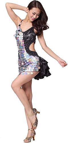 DCL Robe de Danse Latine vêtements Costume Haut de Gamme Grandes Paillettes Satin Danse Latine