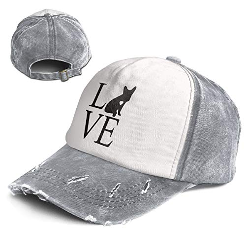 Fashion Vintage Hat Frenchie Love Adjustable Dad Hat Baseball Cowboy Cap Gray