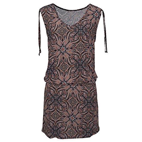 nobrand WomensV-Neck ärmelloses Retro Print Etuikleid Strandkleid Natürliches Sommerkleid