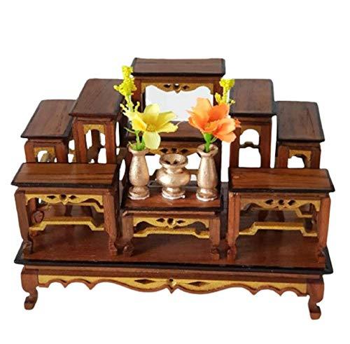 Mini Buddha Altar Thai Table, Altar Stand, Miniature Wood, Worship and Prayer, Teak Shelf for Tiny Item, Set 9 Amulet Table Teak 7' x 4' x 5'