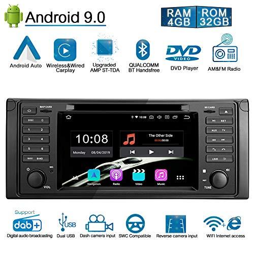 Ohok 7 Zoll Bildschirm 1 Din Autoradio Android 9.0 Pie Octa Core 4G+32G Radio mit Navi Moniceiver DVD GPS Navigation Unterstützt Bluetooth DAB+ für BMW 5 E39 Series/BMW X5 E53 Series
