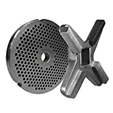 #32 Plate & Knife for #32 Meat Grinders, Plate has 1/8'(3 mm) Holes, Raised Edge