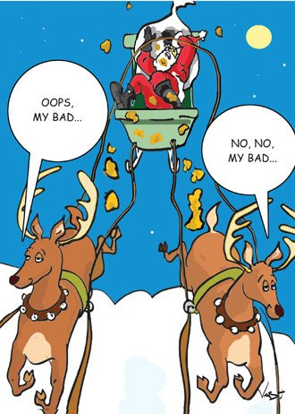 My Bad Poop on Santa Funny Christmas Card