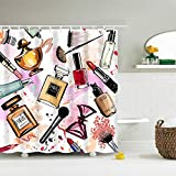 Fabric Shower Curtain Watercolor Cosmetics Lipstick Perfume Makeup BrushMachine Washable Digital Printing Bathroom Decor with 12 Hooks 72x72 inches
