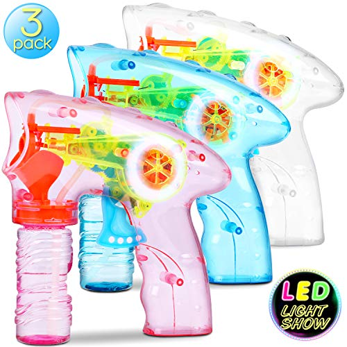 Bubble Machine Bubble Gun Shooter - 3 Pack Bubble Toy Blaster Blower for kids, Toddlers, Indoor and Outdoor with LED Flashing Lights, Sound-Free, No Batteries Needed ( 6 Pack Bubble solution Refill)