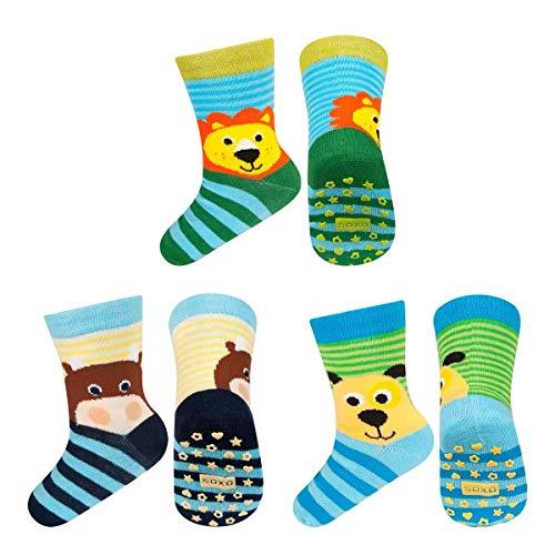 soxo Calcetines Antideslizantes de Color para Bebe | Paquete de 3 | Talla 22-24 | para Niñas y Niños | Calcetines Sonajero Animales de Algodón | Antialérgicos y no Irritan la piel