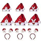 HomeMall Weihnachtsmütze Rentier Schneemann Hüte für Kinder & Erwachsene Nikolausmütze Weihnachtsstirnband 9 Teile / Satz