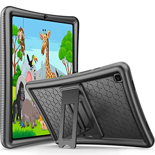 Procase Funda Infantil para Samsung Galaxy Tab A7 10,4' 2020 Modelos SM-T500 T505 T507, Carcasa de Silicona Antigolpes y Antideslizante para Uso Rudo de Niños Pequeños con Soporte -Negro