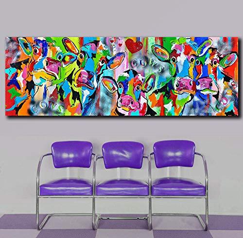 ZDFDC Abstrakte Bunte Kuh Tiere Leinwanddruck Gemälde Wandkunst Bild Poster und Drucke für Wohnzimmer Home Decor-50x150cmx1 ohne Rahmen
